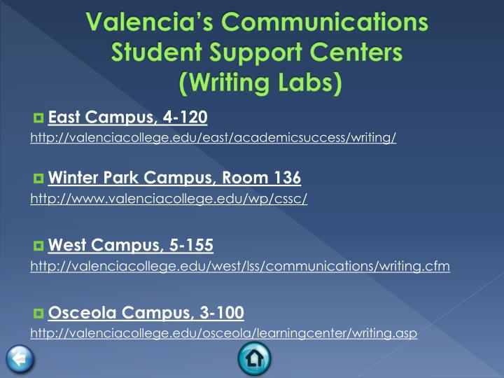 Valencia's Communications Student Support Centers