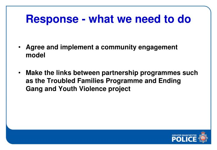 Response - what we need to do