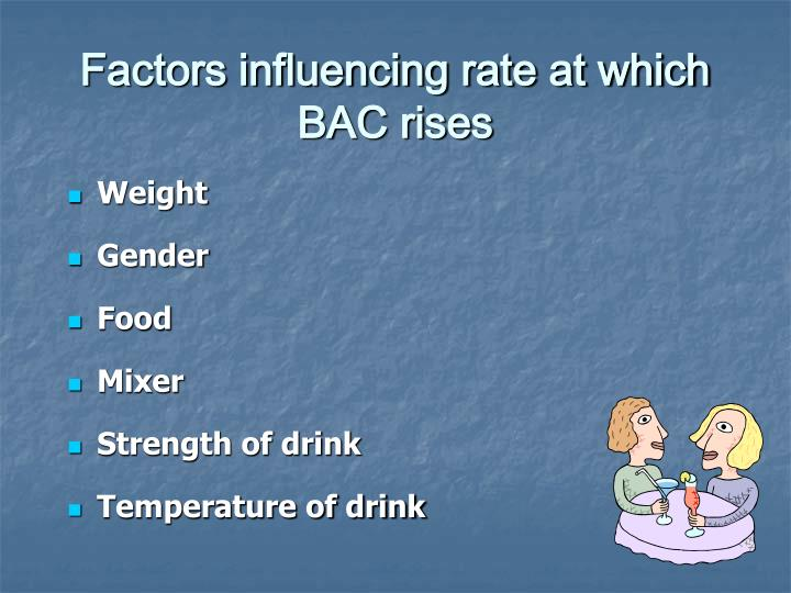 Factors influencing rate at which BAC rises