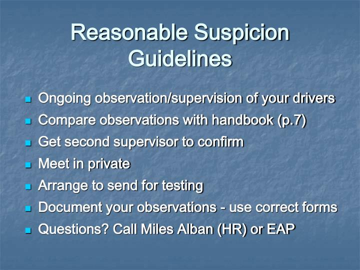 Reasonable Suspicion Guidelines