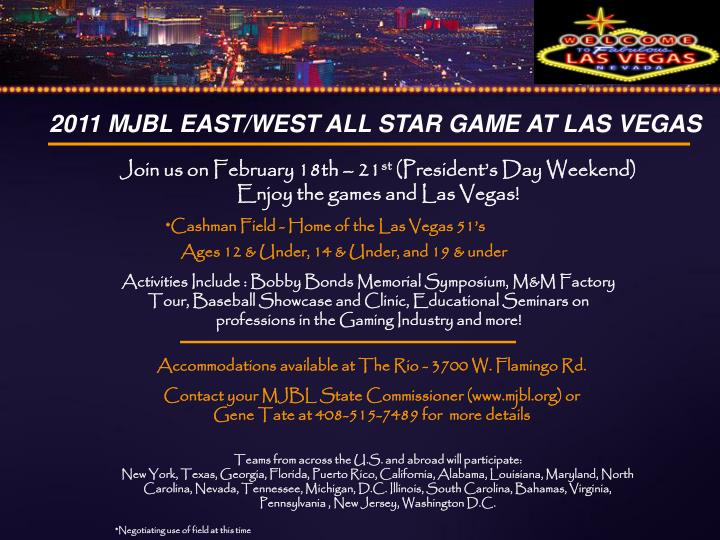 2011 mjbl east west all star game at las vegas