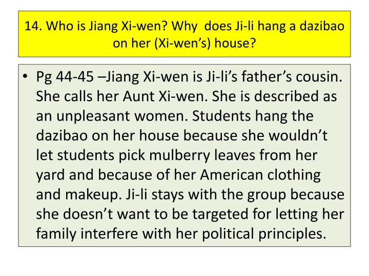 14. Who is Jiang Xi-