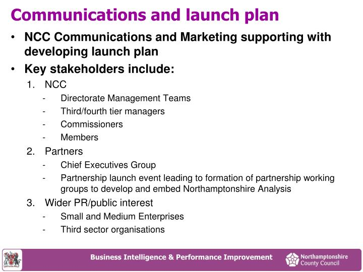 Communications and launch plan