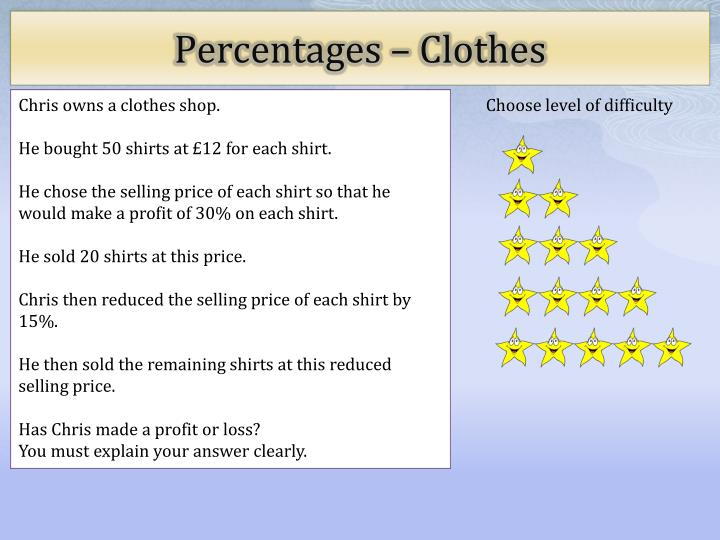Percentages clothes