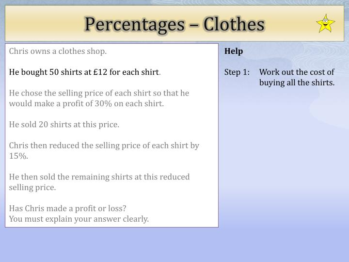 Percentages clothes1
