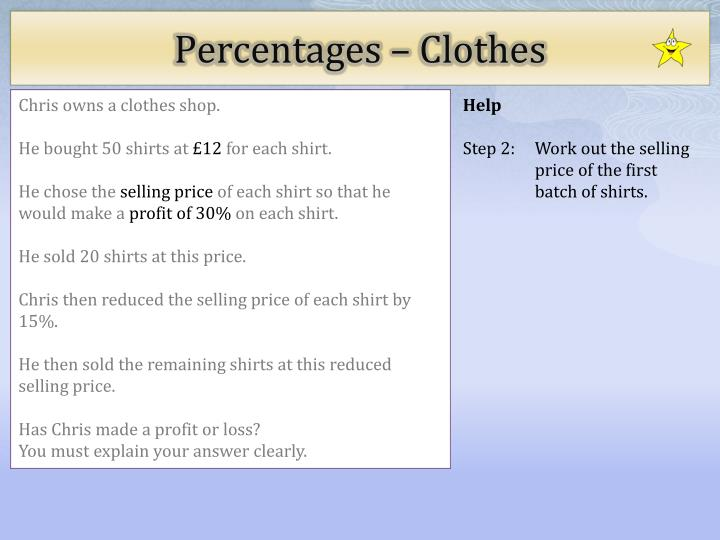 Percentages clothes2