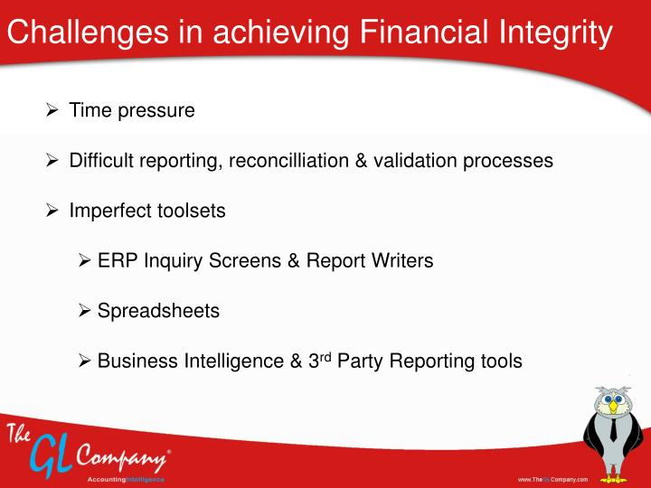 Challenges in achieving Financial Integrity