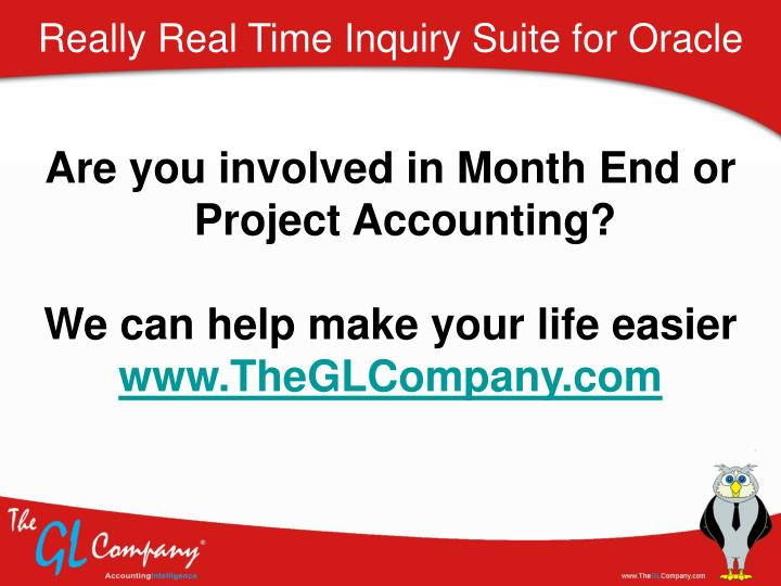 Really Real Time Inquiry Suite for Oracle