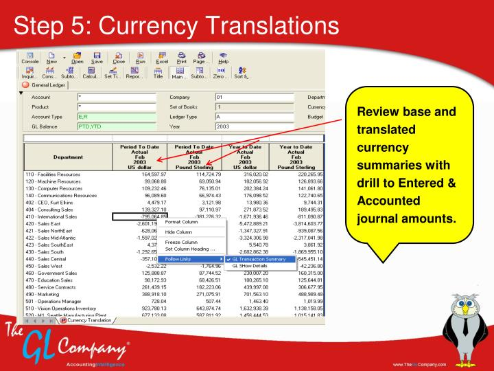 Step 5: Currency Translations