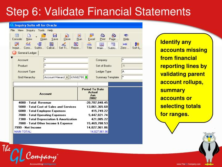 Step 6: Validate Financial Statements