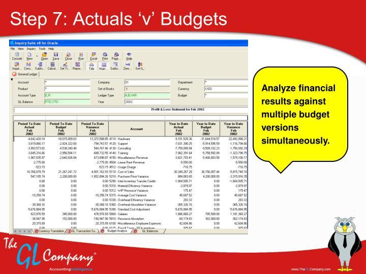 Step 7: Actuals 'v' Budgets
