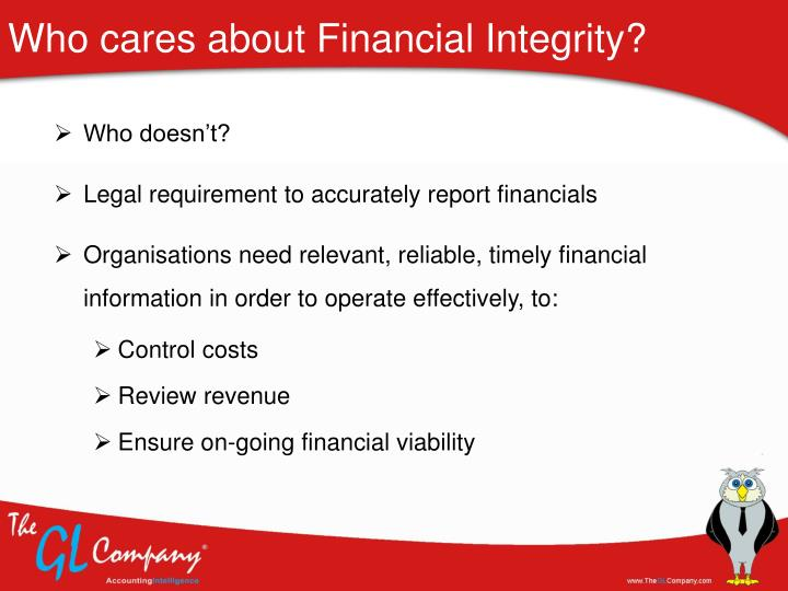 Who cares about financial integrity