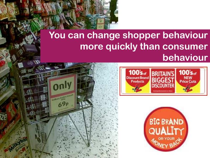 You can change shopper behaviour more quickly than consumer behaviour