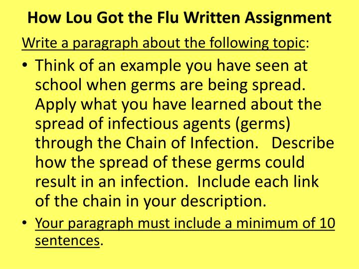How Lou Got the Flu Written Assignment