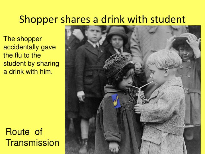 Shopper shares a drink with student