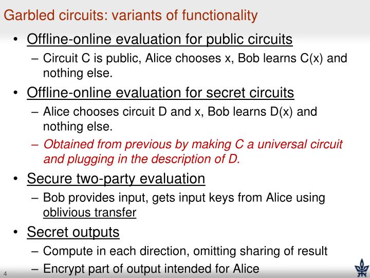 Garbled circuits: variants of functionality