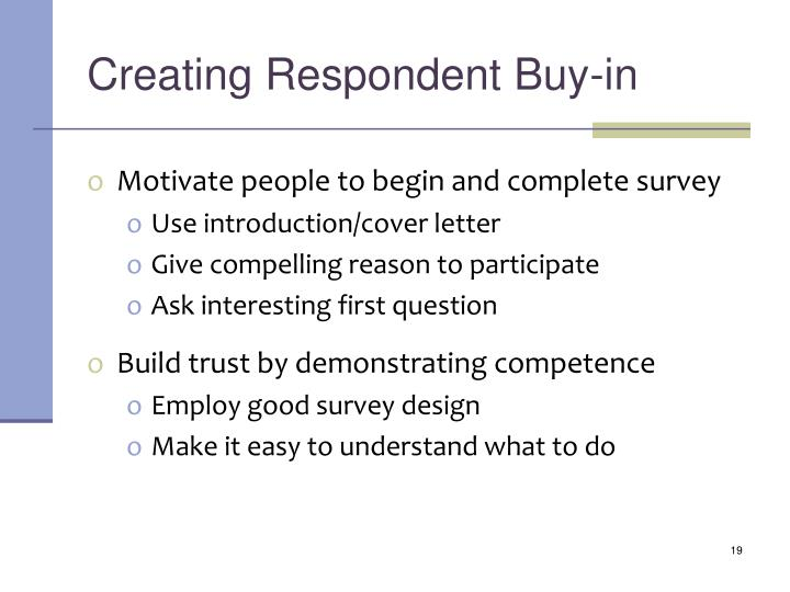 Creating Respondent Buy-in