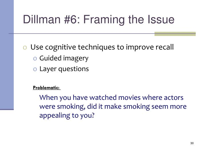Dillman #6: Framing the Issue