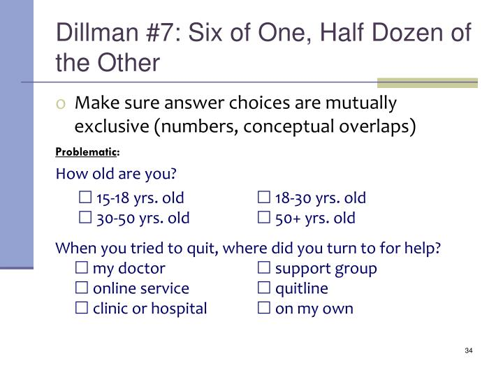 Dillman #7: Six of One, Half Dozen of the Other