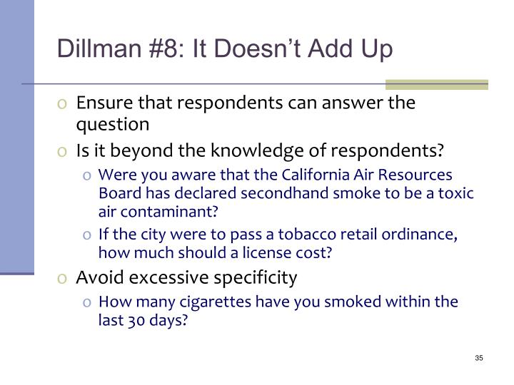 Dillman #8: It Doesn't Add Up