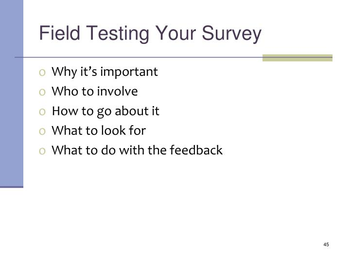 Field Testing Your Survey