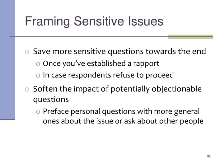 Framing Sensitive Issues
