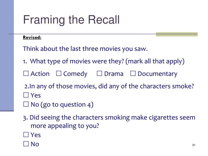 Framing the Recall