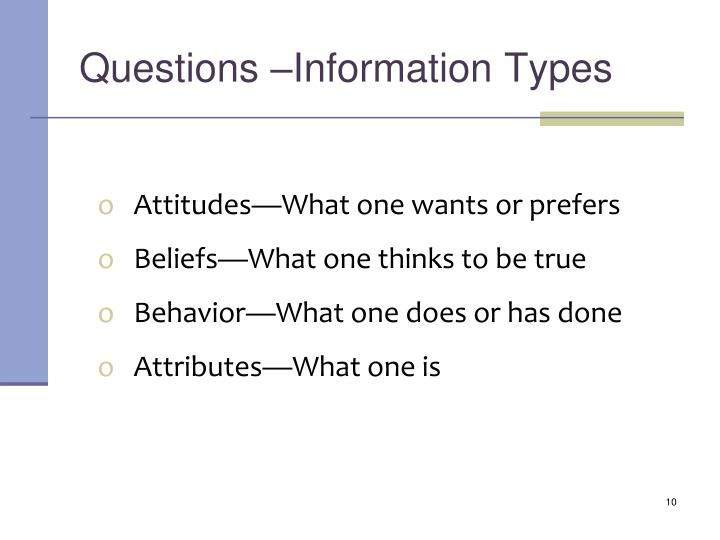 Questions –Information Types