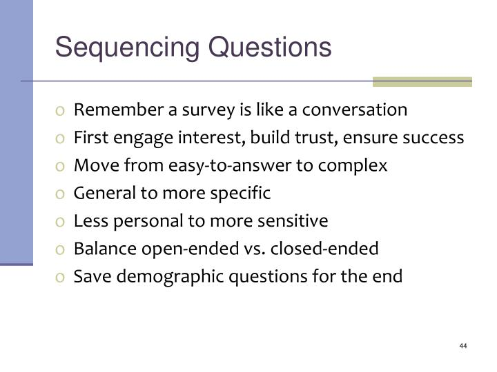 Sequencing Questions