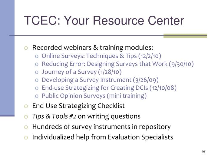 TCEC: Your Resource Center
