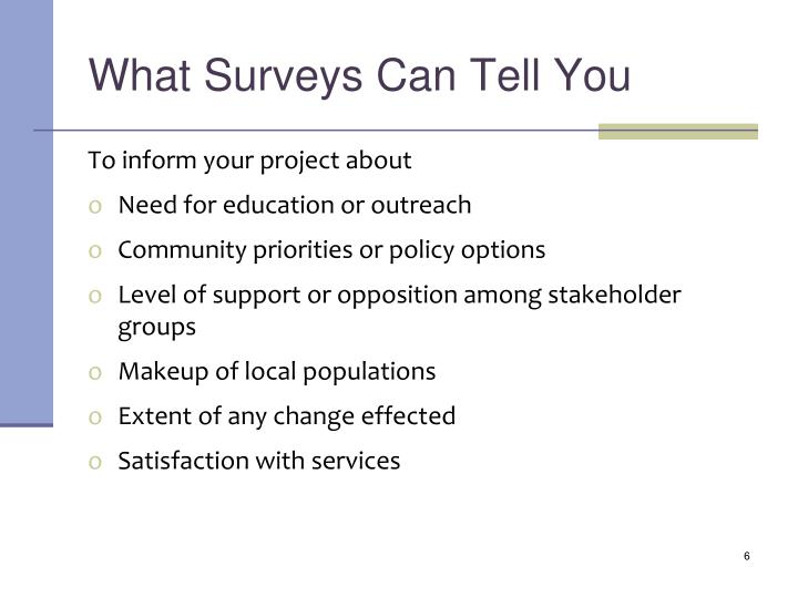 What Surveys Can Tell You