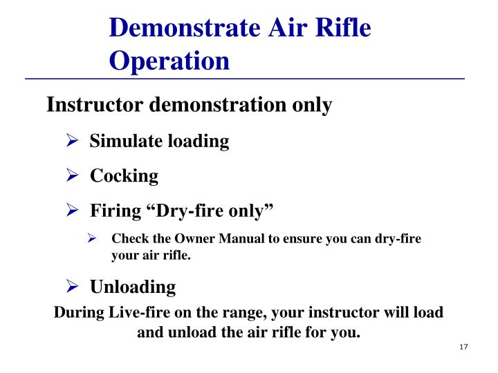 Demonstrate Air Rifle Operation