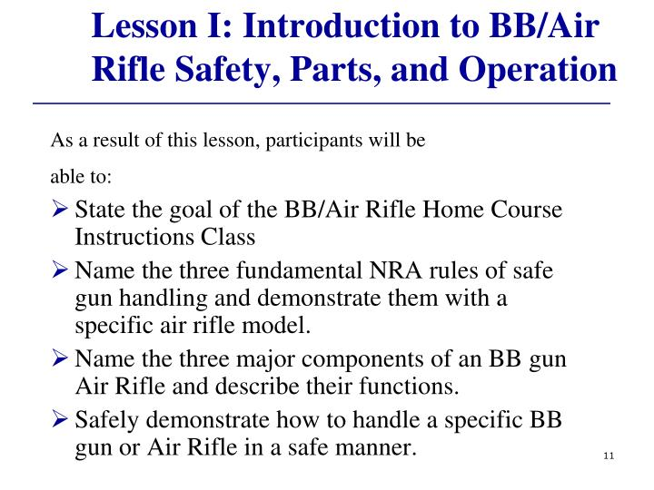 Lesson I: Introduction to BB/Air Rifle Safety, Parts, and Operation