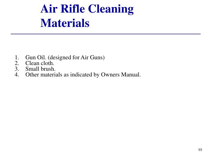 Air Rifle Cleaning Materials
