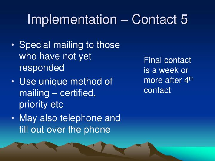 Implementation – Contact 5
