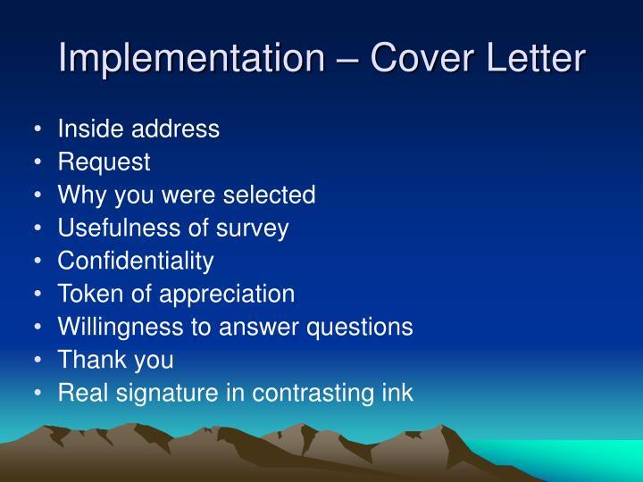 Implementation – Cover Letter