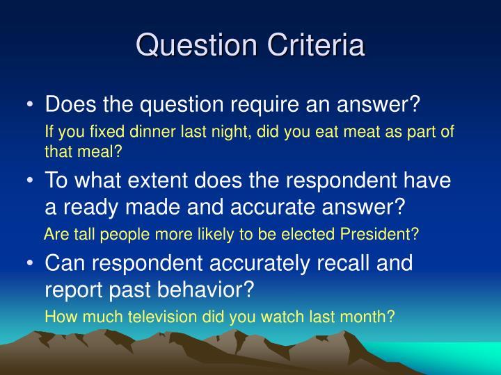 Question Criteria