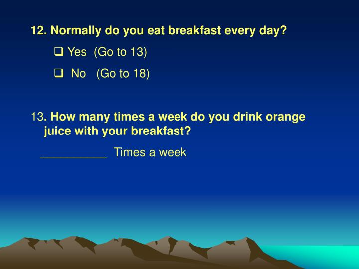Normally do you eat breakfast every day?