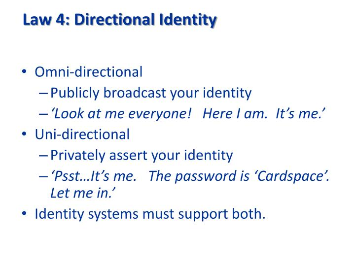 Law 4: Directional Identity
