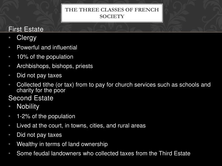 The three classes of french society