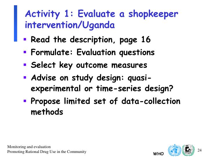 Activity 1: Evaluate a shopkeeper intervention/Uganda