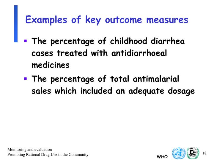 Examples of key outcome measures