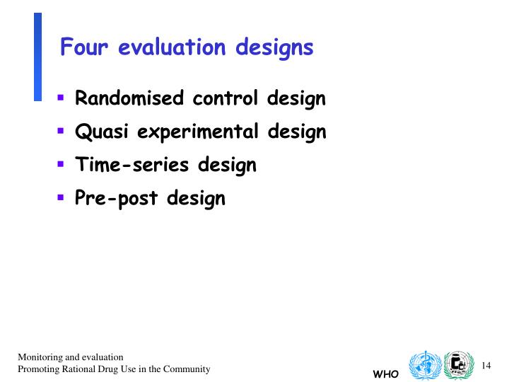 Four evaluation designs