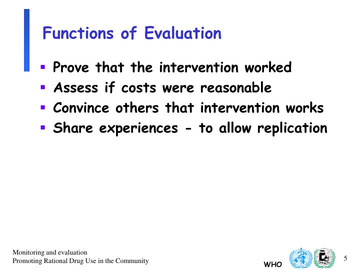 Functions of Evaluation