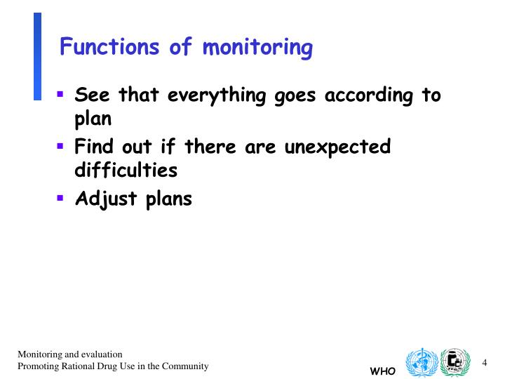 Functions of monitoring