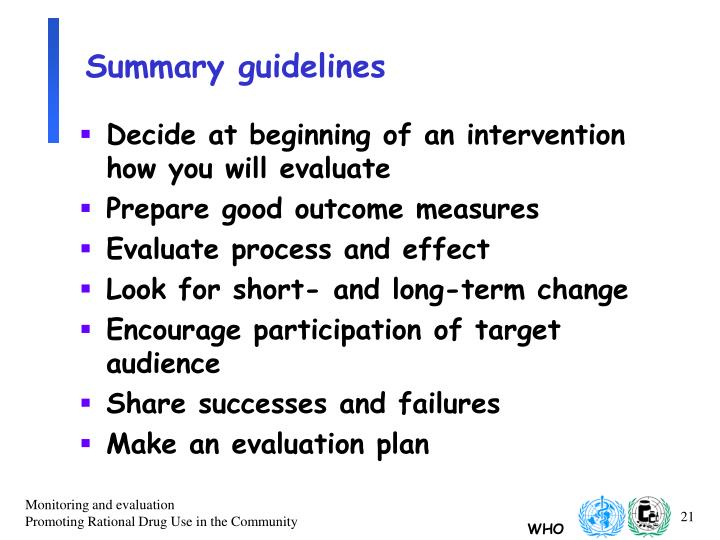 Summary guidelines