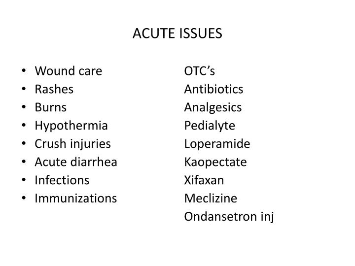 ACUTE ISSUES