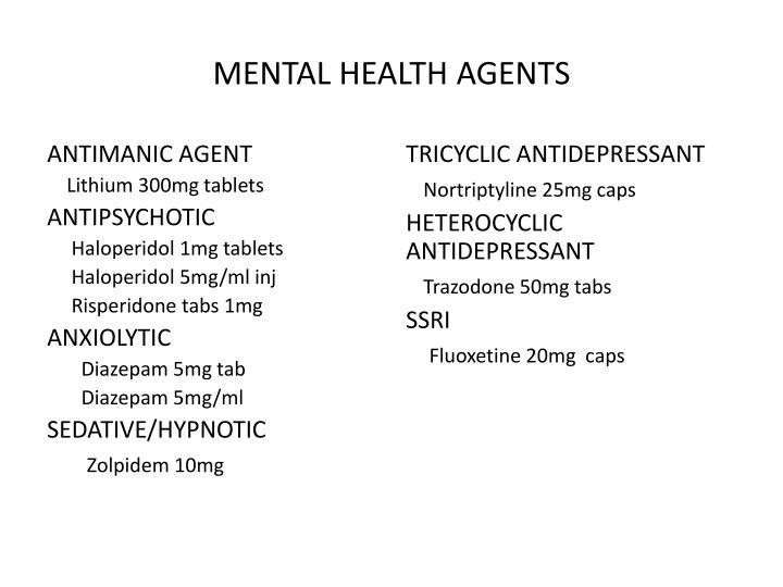 MENTAL HEALTH AGENTS