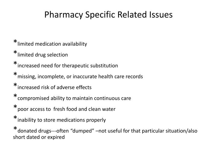 Pharmacy Specific Related Issues