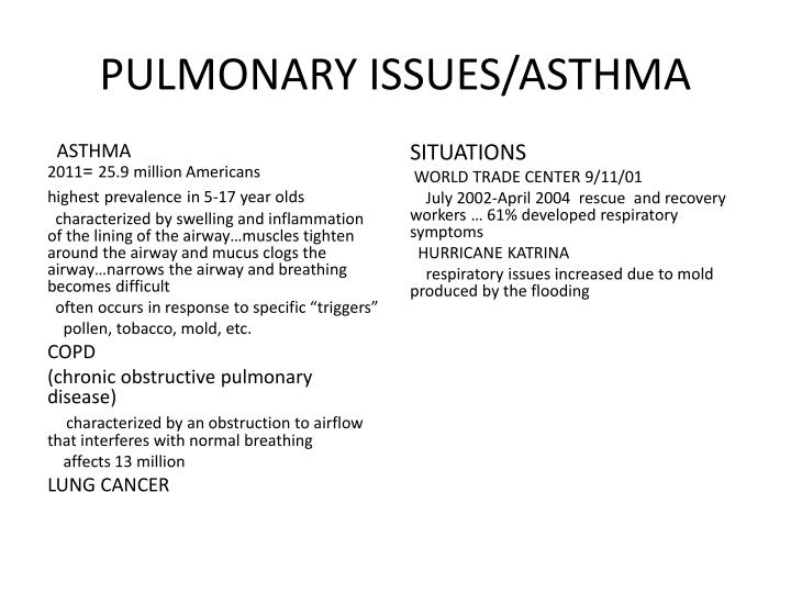 PULMONARY ISSUES/ASTHMA